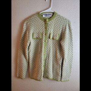St John Knit Button Geometric Green Cardigan